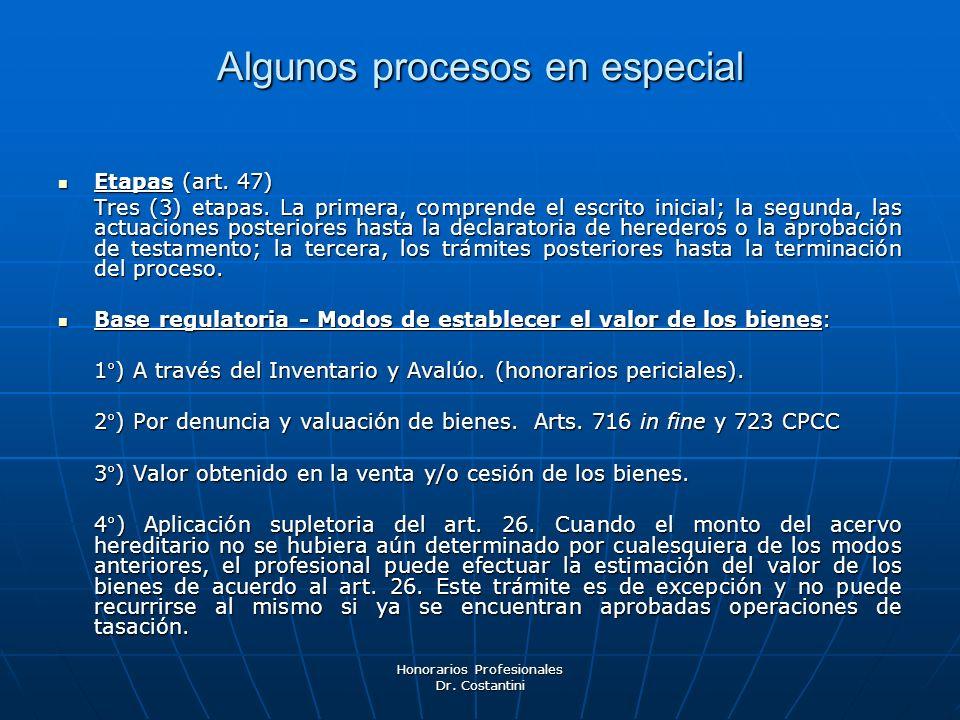 Honorarios Profesionales Dr. Costantini Algunos procesos en especial Etapas (art. 47) Etapas (art. 47) Tres (3) etapas. La primera, comprende el escri