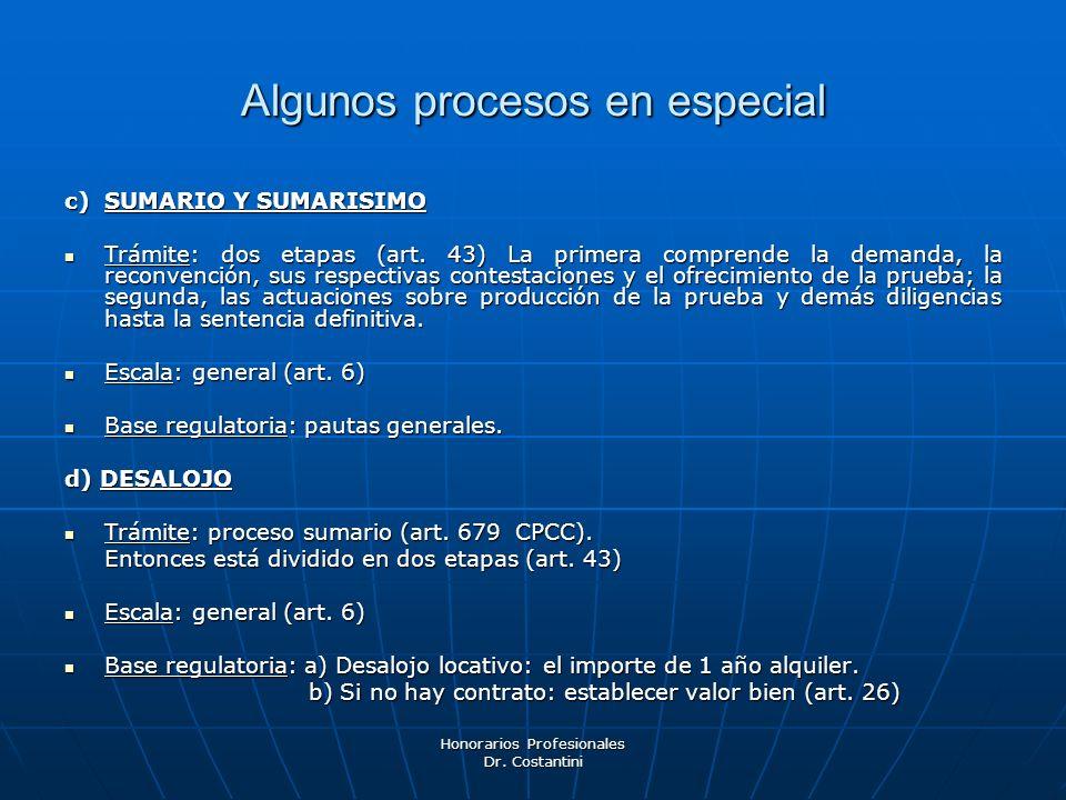 Honorarios Profesionales Dr. Costantini Algunos procesos en especial c) SUMARIO Y SUMARISIMO Trámite: dos etapas (art. 43) La primera comprende la dem