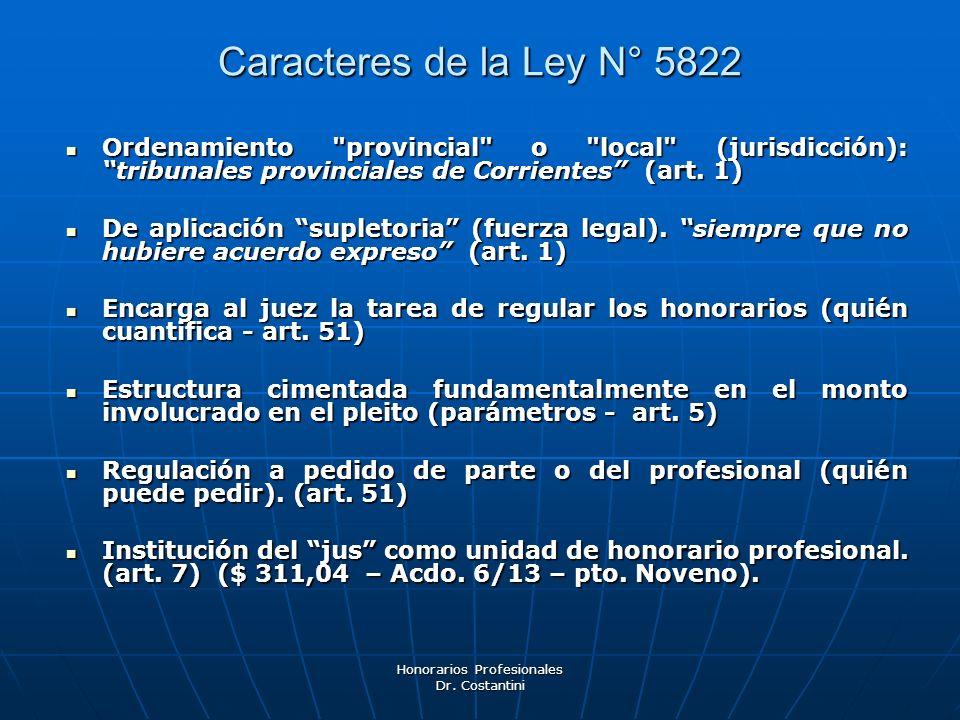 Honorarios Profesionales Dr. Costantini Caracteres de la Ley N° 5822 Ordenamiento