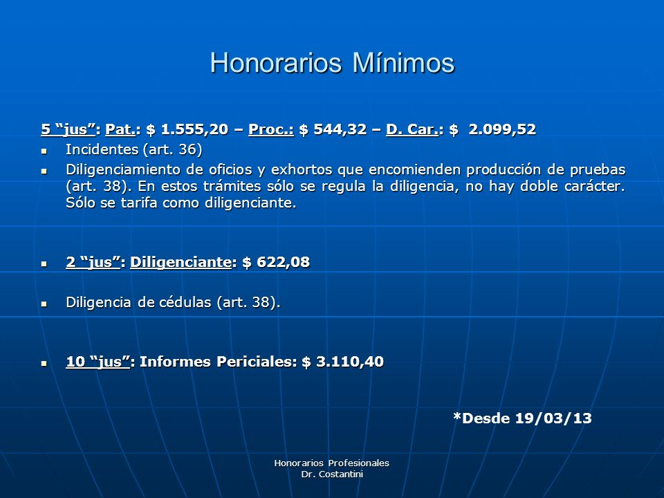 Honorarios Profesionales Dr. Costantini Honorarios Mínimos 5 jus: Pat.: $ 1.555,20 – Proc.: $ 544,32 – D. Car.: $ 2.099,52 Incidentes (art. 36) Incide