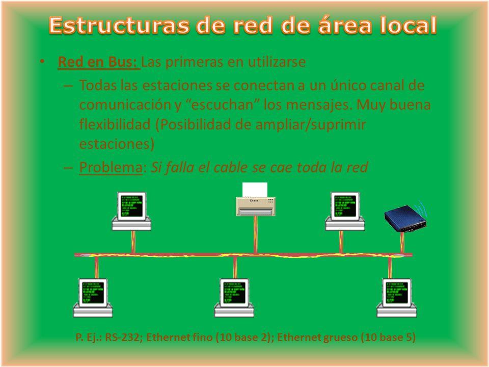 Red en Bus: Las primeras en utilizarse – Todas las estaciones se conectan a un único canal de comunicación y escuchan los mensajes.