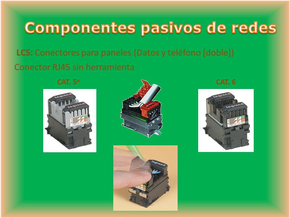 LCS: Conectores para paneles (Datos y teléfono [doble]) Conector RJ45 sin herramienta CAT.