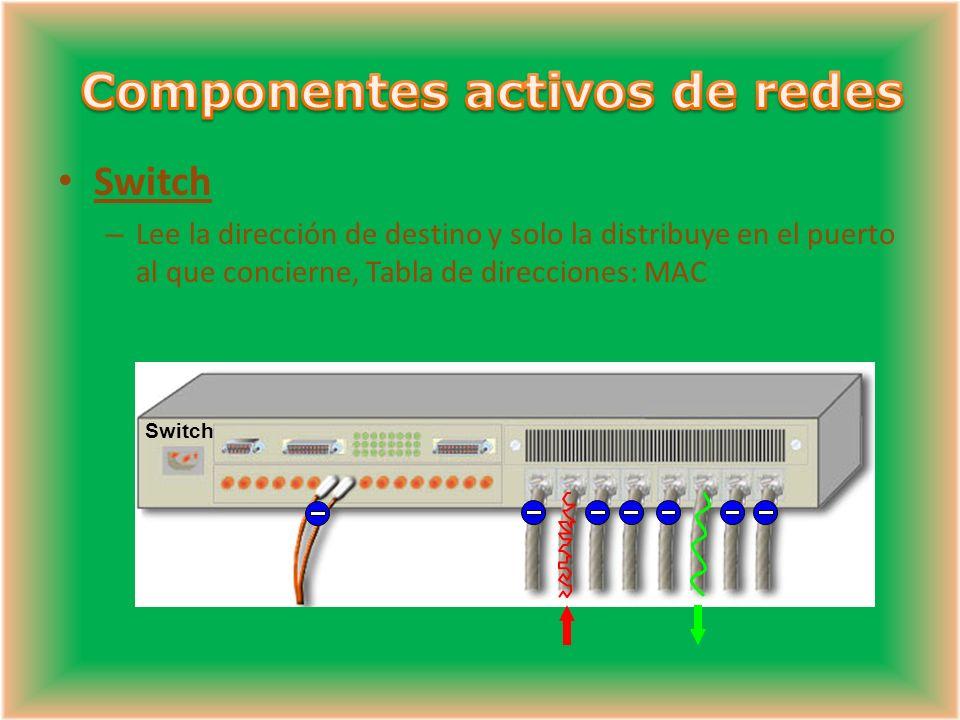 Switch – Lee la dirección de destino y solo la distribuye en el puerto al que concierne, Tabla de direcciones: MAC Switch