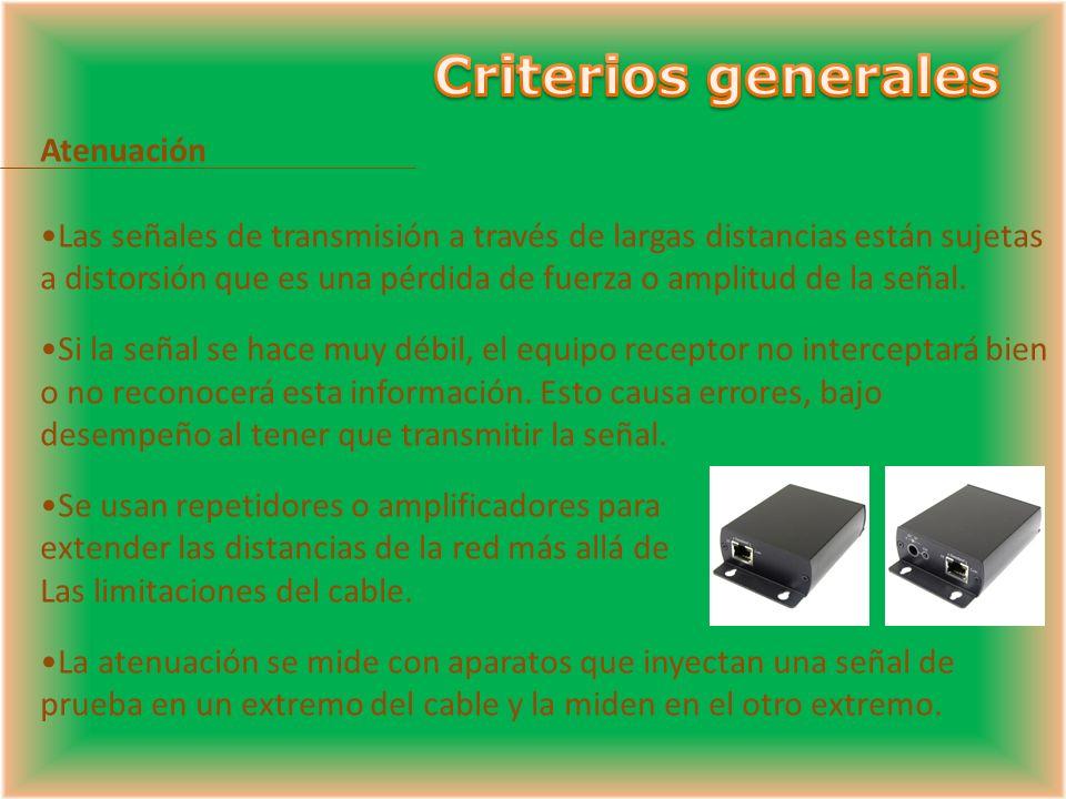 Atenuación Las señales de transmisión a través de largas distancias están sujetas a distorsión que es una pérdida de fuerza o amplitud de la señal.