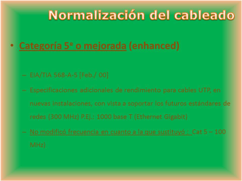 Categoría 5 e o mejorada (enhanced) – EIA/TIA 568-A-5 [Feb./ 00] – Especificaciones adicionales de rendimiento para cables UTP, en nuevas instalaciones, con vista a soportar los futuros estándares de redes (300 MHz) P.Ej.: 1000 base T (Ethernet Gigabit) – No modificó frecuencia en cuanto a la que sustituyó : Cat 5 – 100 MHz)