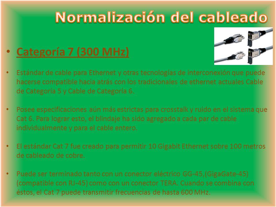 Categoría 7 (300 MHz) Estándar de cable para Ethernet y otras tecnologías de interconexión que puede hacerse compatible hacia atrás con los tradicionales de ethernet actuales Cable de Categoría 5 y Cable de Categoría 6.