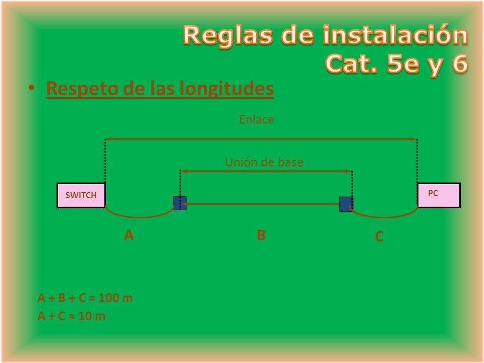 A + B + C 100 m A + C 10 m SWITCH AB C Enlace PC Unión de base Respeto de las longitudes