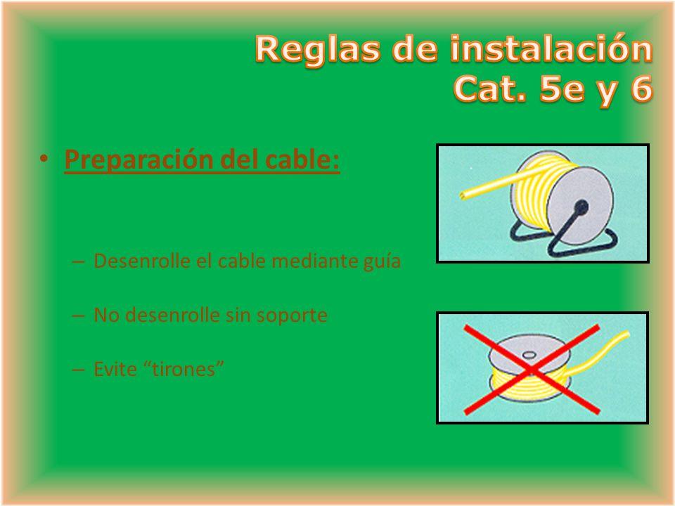 Preparación del cable: – Desenrolle el cable mediante guía – No desenrolle sin soporte – Evite tirones