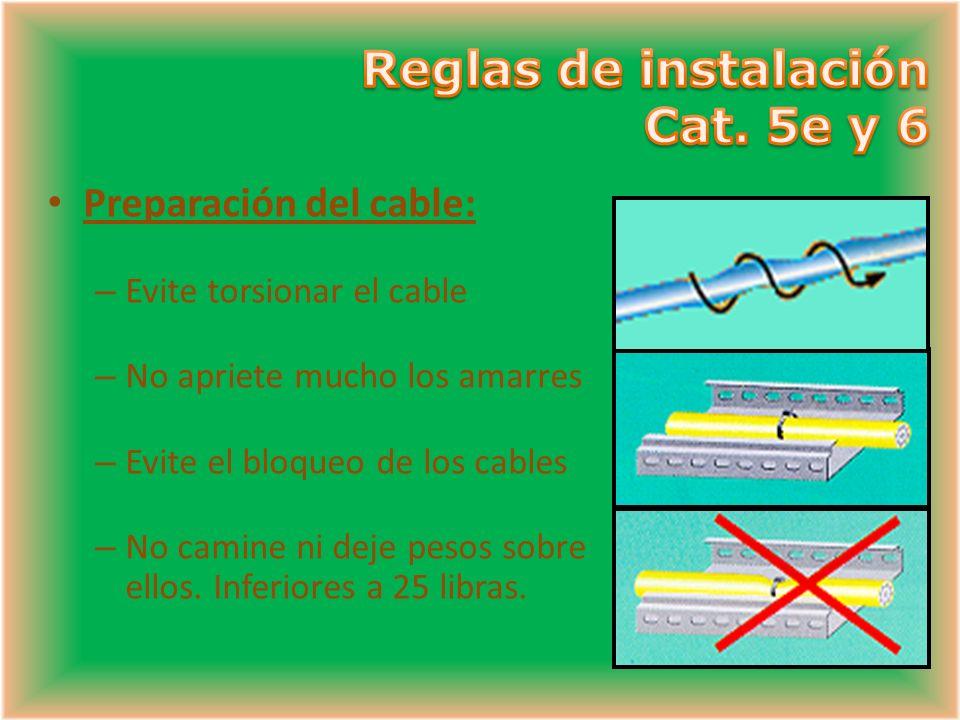 Preparación del cable: – Evite torsionar el cable – No apriete mucho los amarres – Evite el bloqueo de los cables – No camine ni deje pesos sobre ellos.