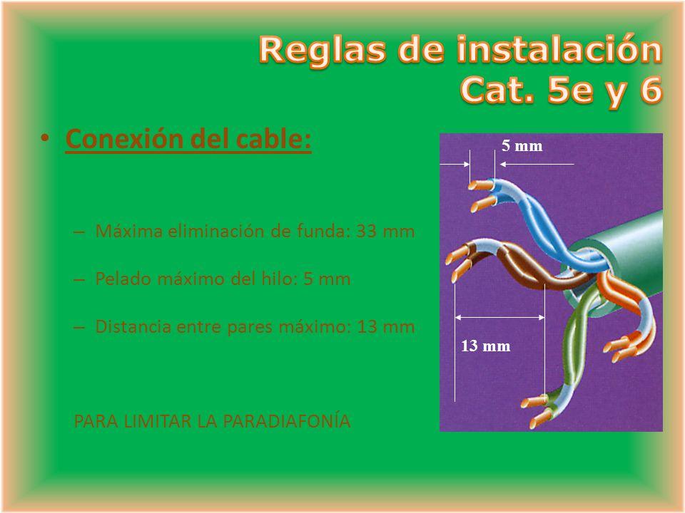5 mm 13 mm Conexión del cable: – Máxima eliminación de funda: 33 mm – Pelado máximo del hilo: 5 mm – Distancia entre pares máximo: 13 mm PARA LIMITAR LA PARADIAFONÍA