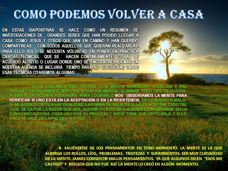 B. SALIÉNDOSE DE LOS PENSAMIENTOS EN TODO MOMENTO. LA MENTE ES LA QUE ALBERGA LOS ROLLOS, LÍOS, PROBLEMAS, TRISTEZAS Y SUFRIMIENTOS. SER MUY CUIDADOSO