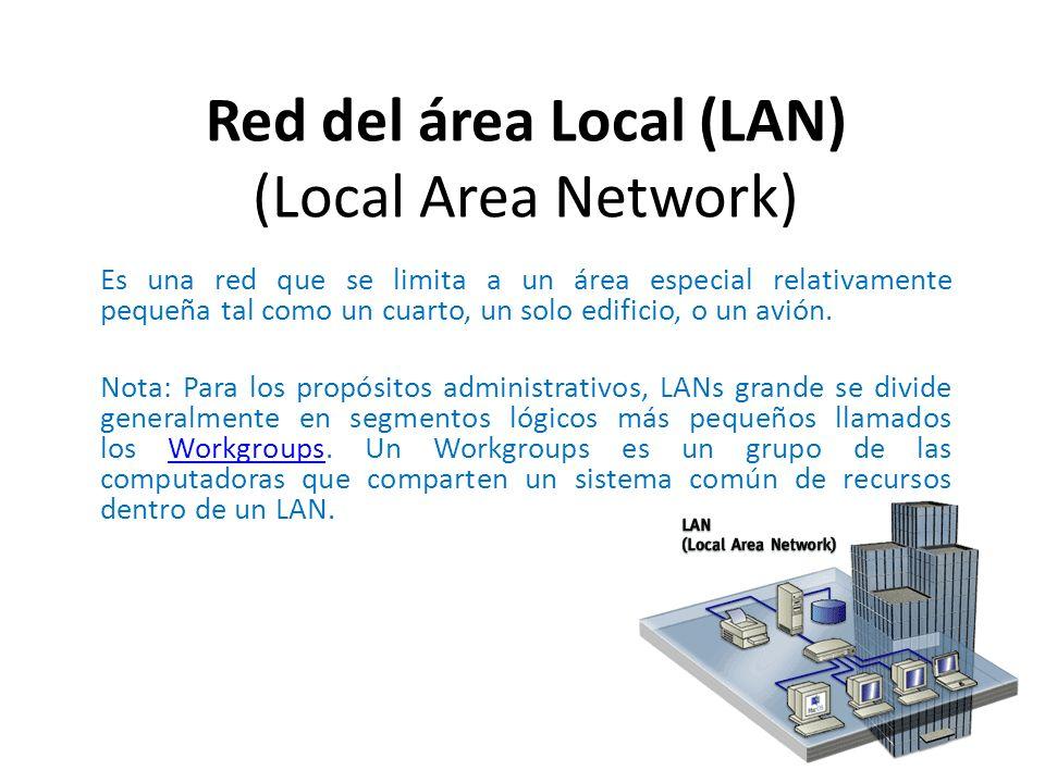 Es una red que se limita a un área especial relativamente pequeña tal como un cuarto, un solo edificio, o un avión. Nota: Para los propósitos administ