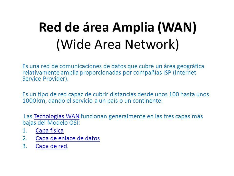 Es una red de comunicaciones de datos que cubre un área geográfica relativamente amplia proporcionadas por compañías ISP (Internet Service Provider).