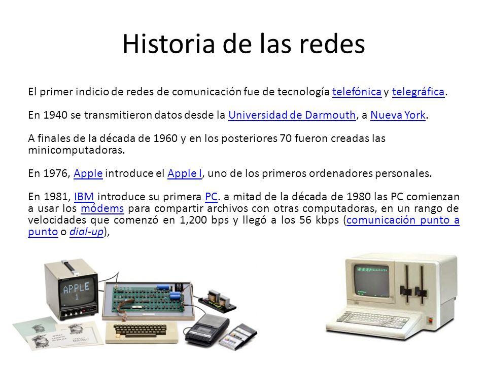 Historia de las redes El primer indicio de redes de comunicación fue de tecnología telefónica y telegráfica.telefónicatelegráfica En 1940 se transmiti