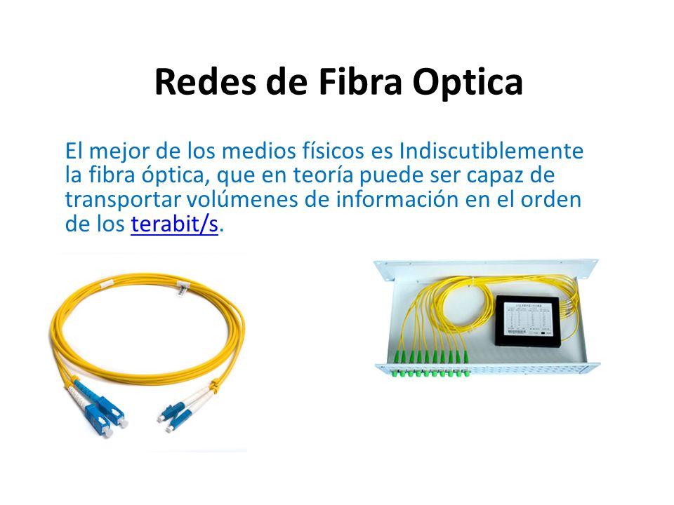 Redes de Fibra Optica El mejor de los medios físicos es Indiscutiblemente la fibra óptica, que en teoría puede ser capaz de transportar volúmenes de i