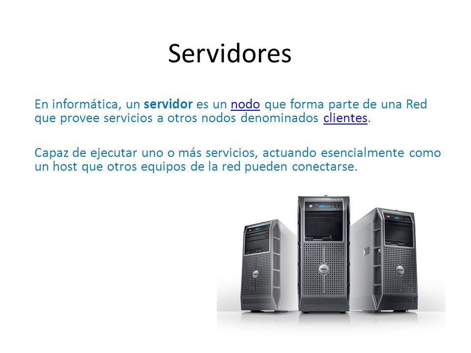 Servidores En informática, un servidor es un nodo que forma parte de una Red que provee servicios a otros nodos denominados clientes.nodoclientes Capa