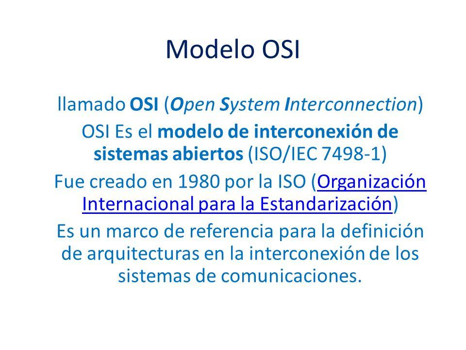 Modelo OSI llamado OSI (Open System Interconnection) OSI Es el modelo de interconexión de sistemas abiertos (ISO/IEC 7498-1) Fue creado en 1980 por la