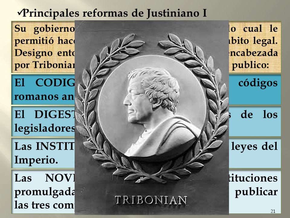 Las NOVELAS, conjunto de constituciones promulgadas por Justiniano después de publicar las tres compilaciones anteriores. 21 Su gobierno era centralis