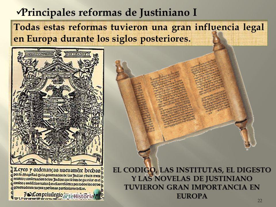 22 Todas estas reformas tuvieron una gran influencia legal en Europa durante los siglos posteriores. Principales reformas de Justiniano I EL CODIGO, L