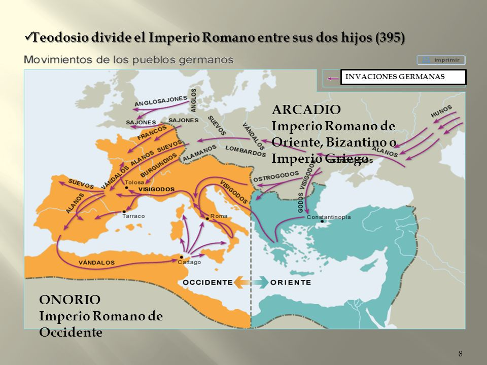 8 INVACIONES GERMANAS Teodosio divide el Imperio Romano entre sus dos hijos (395) Teodosio divide el Imperio Romano entre sus dos hijos (395) ONORIO I
