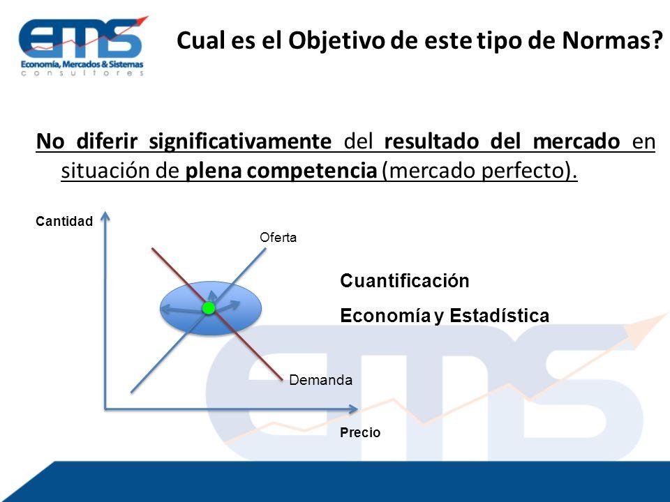 No diferir significativamente del resultado del mercado en situación de plena competencia (mercado perfecto).