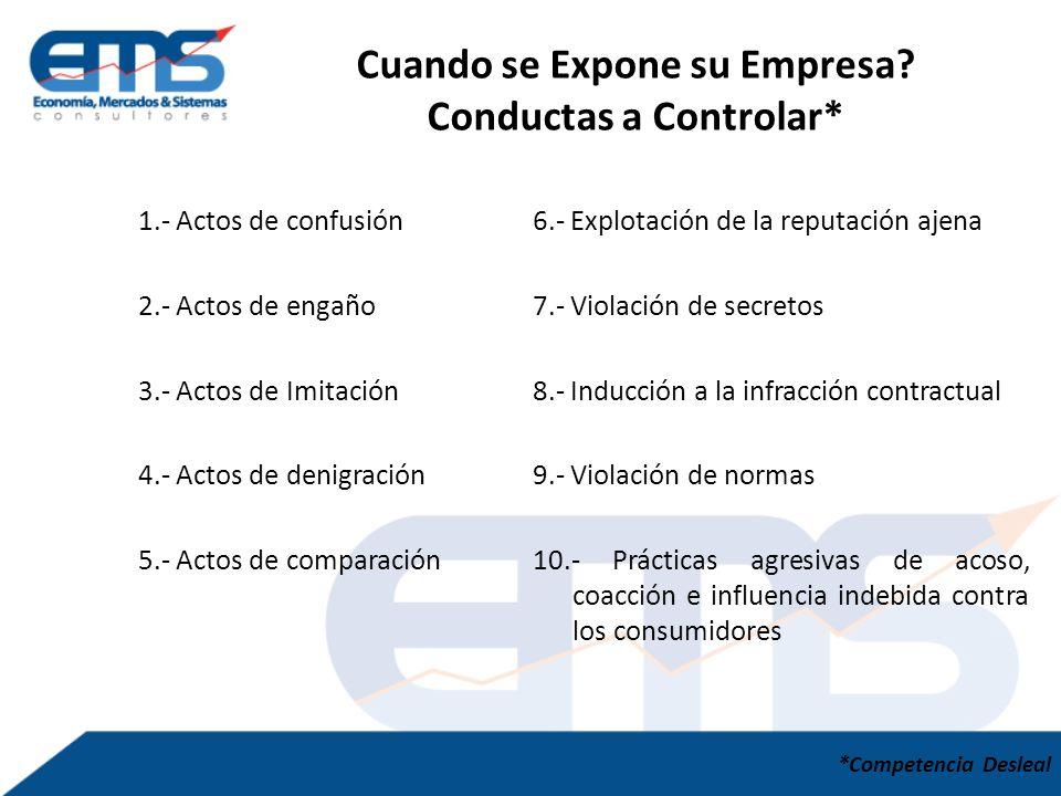 1.- Actos de confusión 2.- Actos de engaño 3.- Actos de Imitación 4.- Actos de denigración 5.- Actos de comparación Cuando se Expone su Empresa.