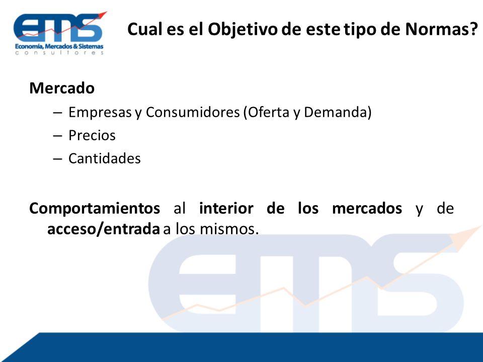 Mercado – Empresas y Consumidores (Oferta y Demanda) – Precios – Cantidades Comportamientos al interior de los mercados y de acceso/entrada a los mismos.