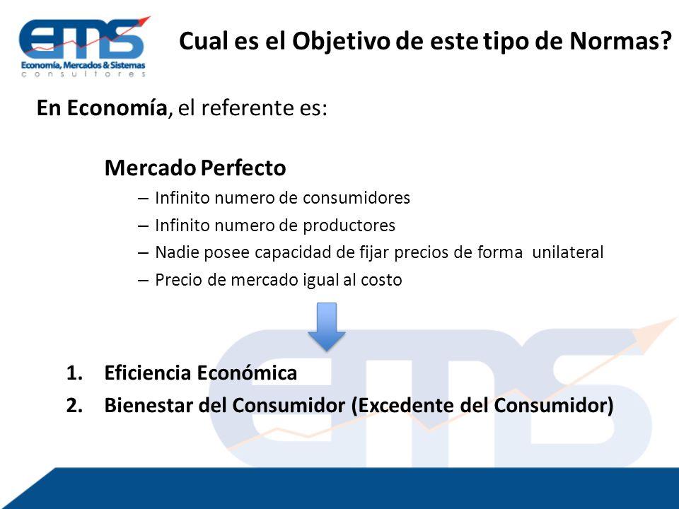 En Economía, el referente es: Mercado Perfecto – Infinito numero de consumidores – Infinito numero de productores – Nadie posee capacidad de fijar precios de forma unilateral – Precio de mercado igual al costo 1.Eficiencia Económica 2.Bienestar del Consumidor (Excedente del Consumidor) Cual es el Objetivo de este tipo de Normas