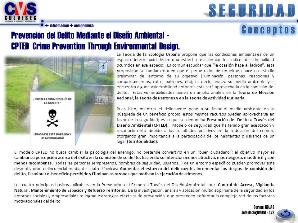 + información + compromiso Prevención del Delito Mediante el Diseño Ambiental - CPTED Crime Prevention Through Environmental Design.