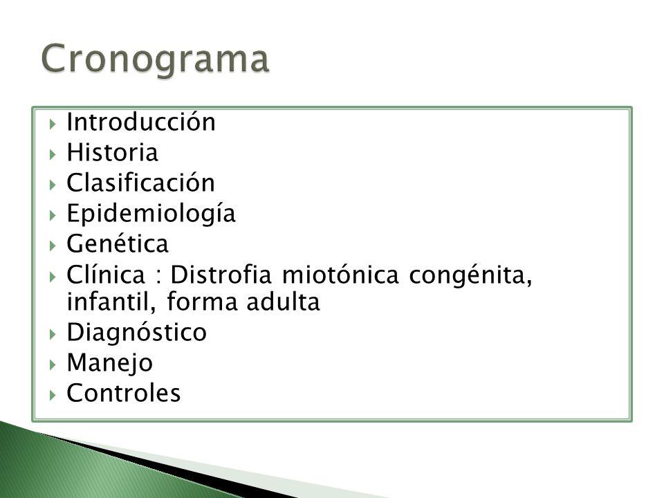 Introducción Historia Clasificación Epidemiología Genética Clínica : Distrofia miotónica congénita, infantil, forma adulta Diagnóstico Manejo Controle
