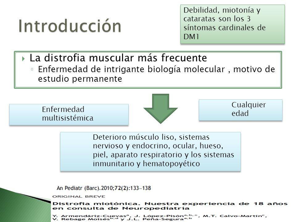 La distrofia muscular más frecuente Enfermedad de intrigante biología molecular, motivo de estudio permanente Enfermedad multisistémica Cualquier edad