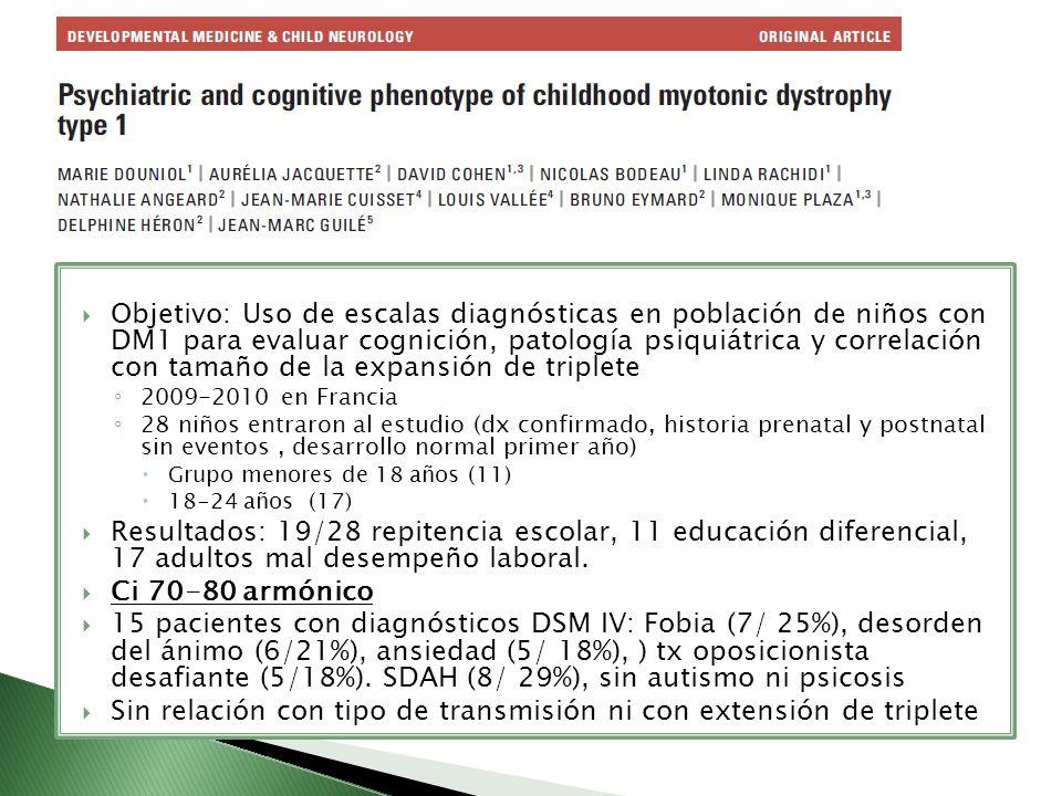 Objetivo: Uso de escalas diagnósticas en población de niños con DM1 para evaluar cognición, patología psiquiátrica y correlación con tamaño de la expa