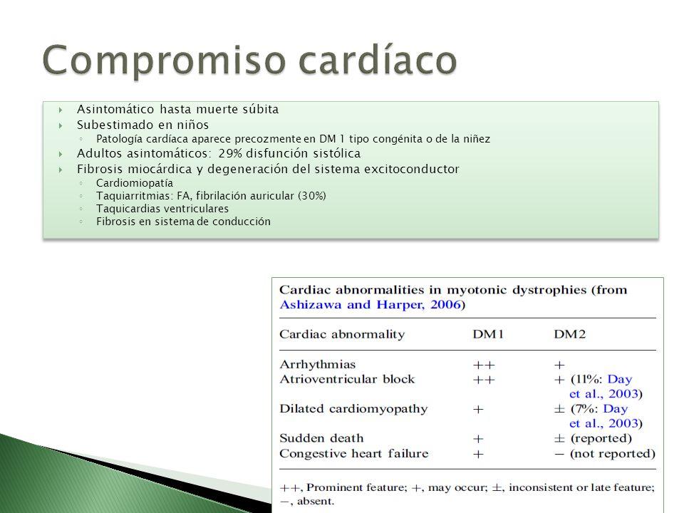 Asintomático hasta muerte súbita Subestimado en niños Patología cardíaca aparece precozmente en DM 1 tipo congénita o de la niñez Adultos asintomático