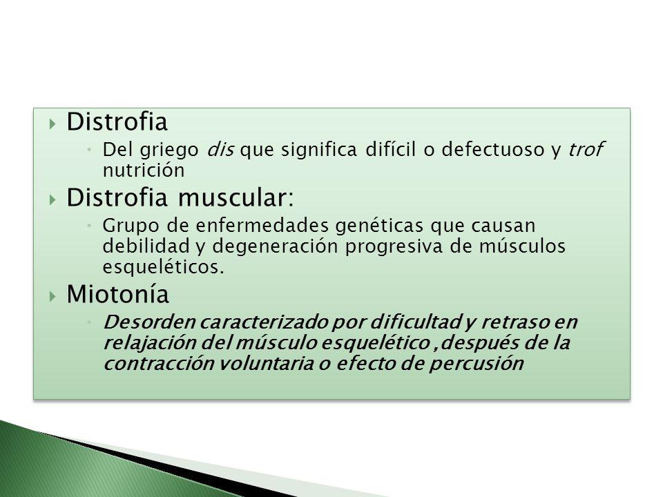 Distrofia Del griego dis que significa difícil o defectuoso y trof nutrición Distrofia muscular: Grupo de enfermedades genéticas que causan debilidad
