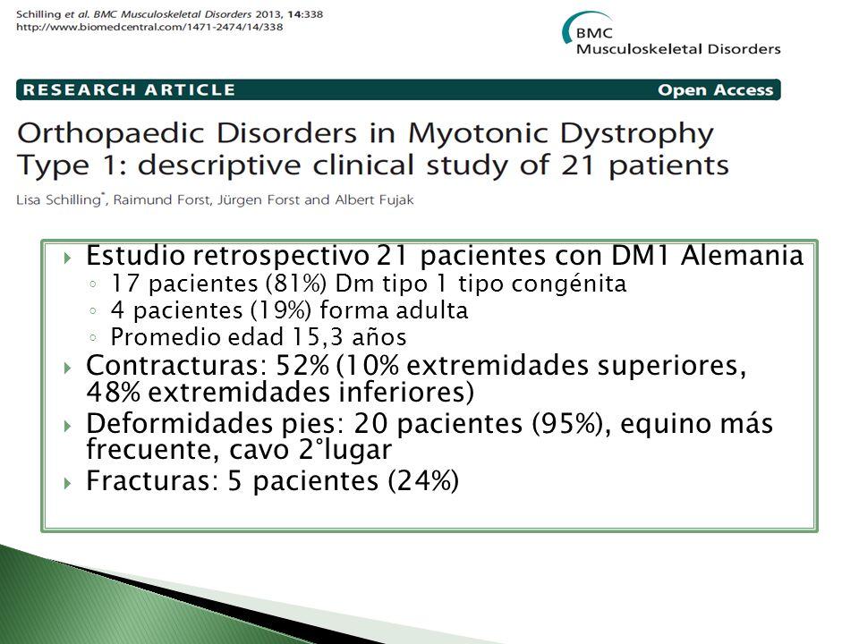 Estudio retrospectivo 21 pacientes con DM1 Alemania 17 pacientes (81%) Dm tipo 1 tipo congénita 4 pacientes (19%) forma adulta Promedio edad 15,3 años