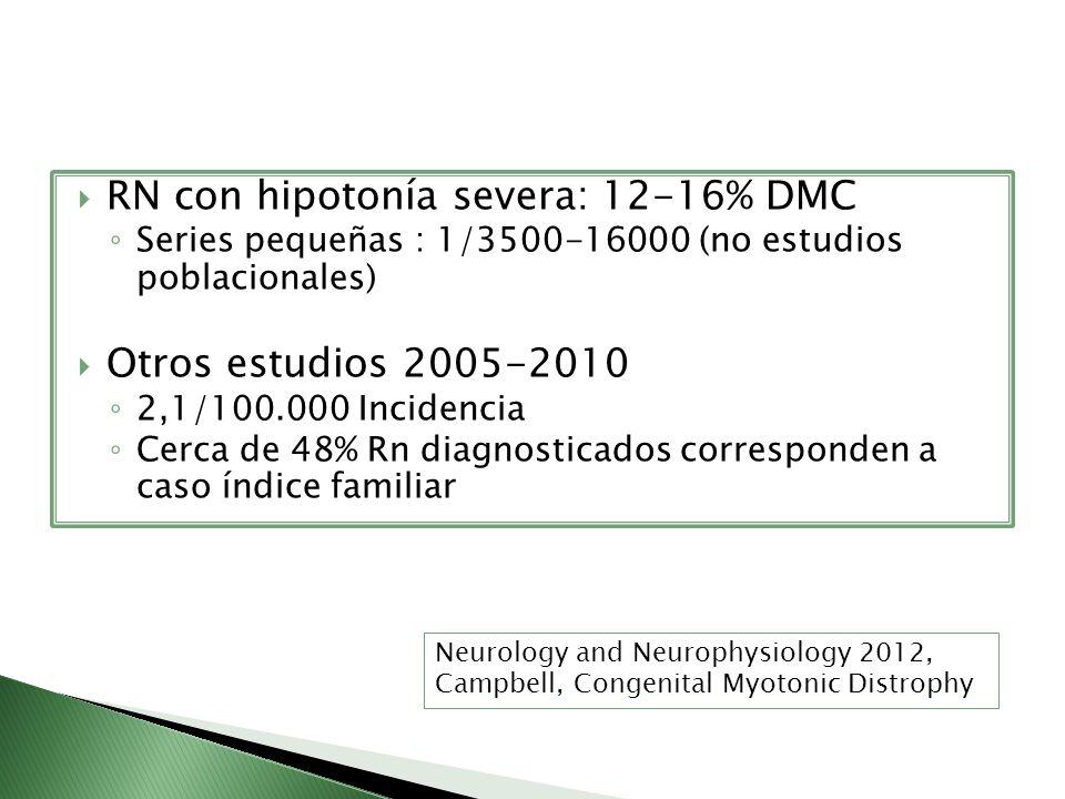 RN con hipotonía severa: 12-16% DMC Series pequeñas : 1/3500-16000 (no estudios poblacionales) Otros estudios 2005-2010 2,1/100.000 Incidencia Cerca d