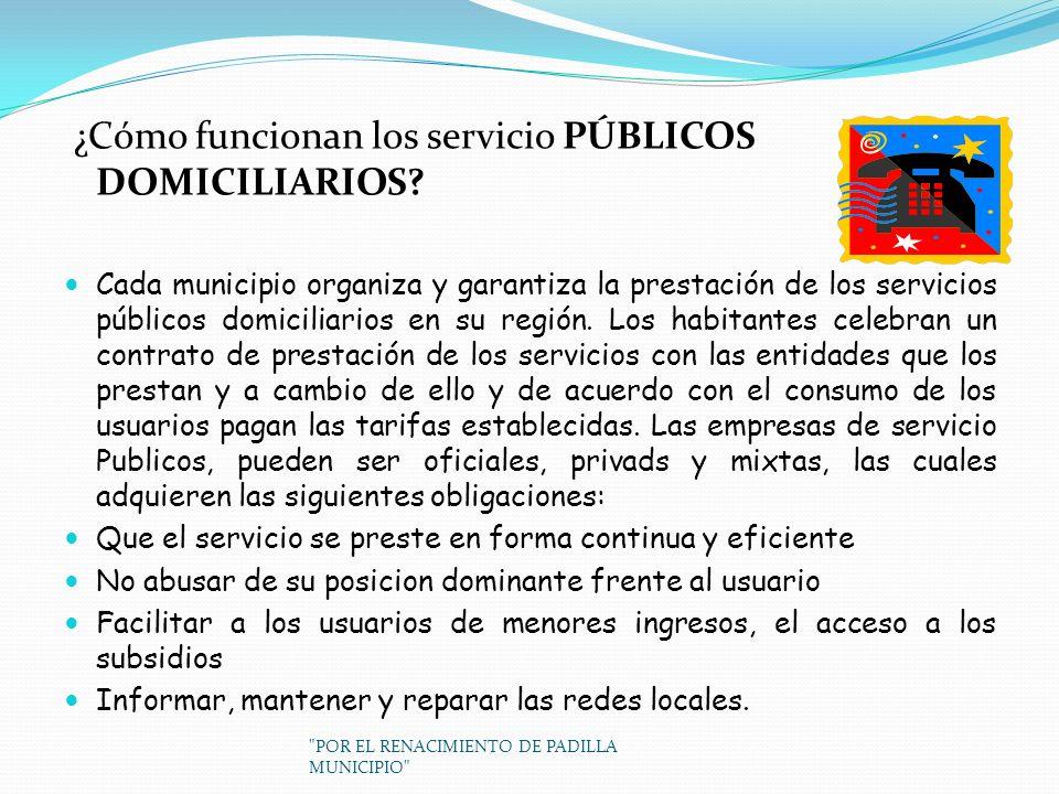 ¿Cómo funcionan los servicio PÚBLICOS DOMICILIARIOS? Cada municipio organiza y garantiza la prestación de los servicios públicos domiciliarios en su r