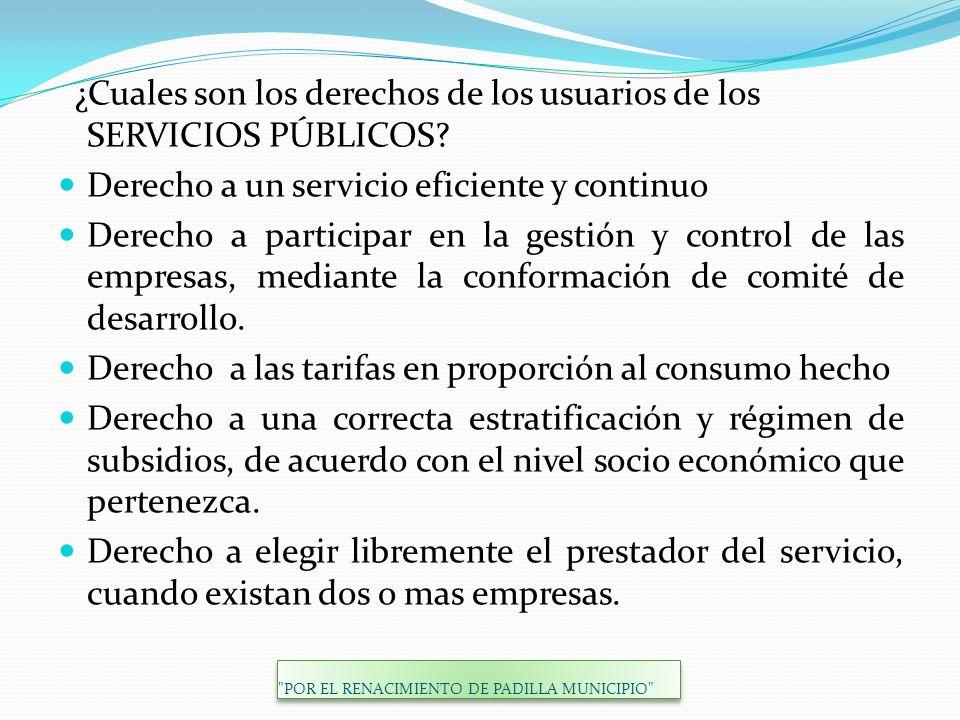 ¿Cuales son los derechos de los usuarios de los SERVICIOS PÚBLICOS? Derecho a un servicio eficiente y continuo Derecho a participar en la gestión y co