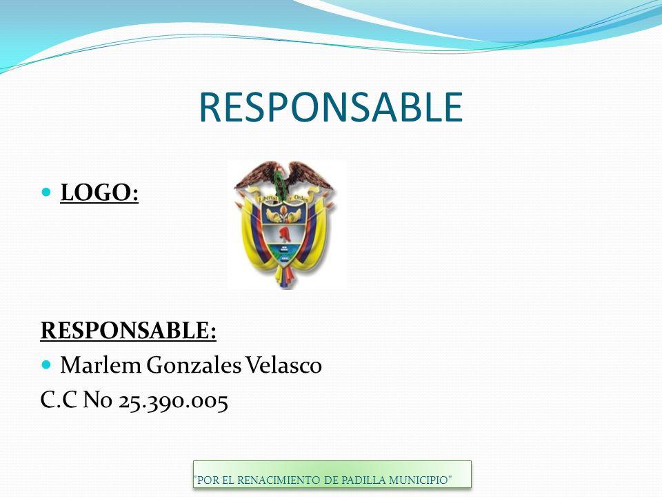 RESPONSABLE LOGO: RESPONSABLE: Marlem Gonzales Velasco C.C No 25.390.005 POR EL RENACIMIENTO DE PADILLA MUNICIPIO