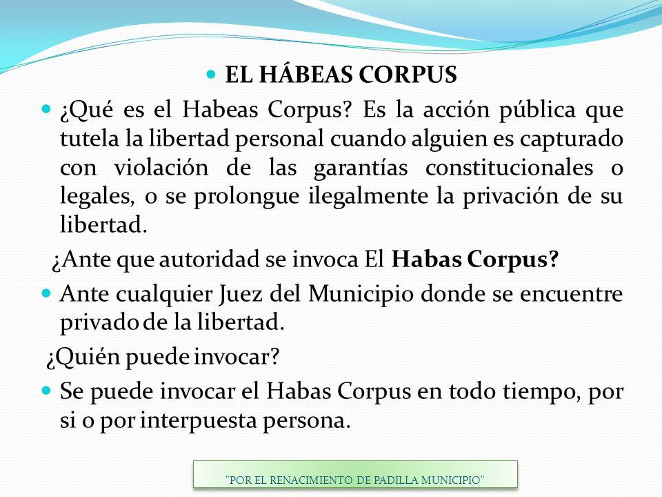 EL HÁBEAS CORPUS ¿Qué es el Habeas Corpus? Es la acción pública que tutela la libertad personal cuando alguien es capturado con violación de las garan