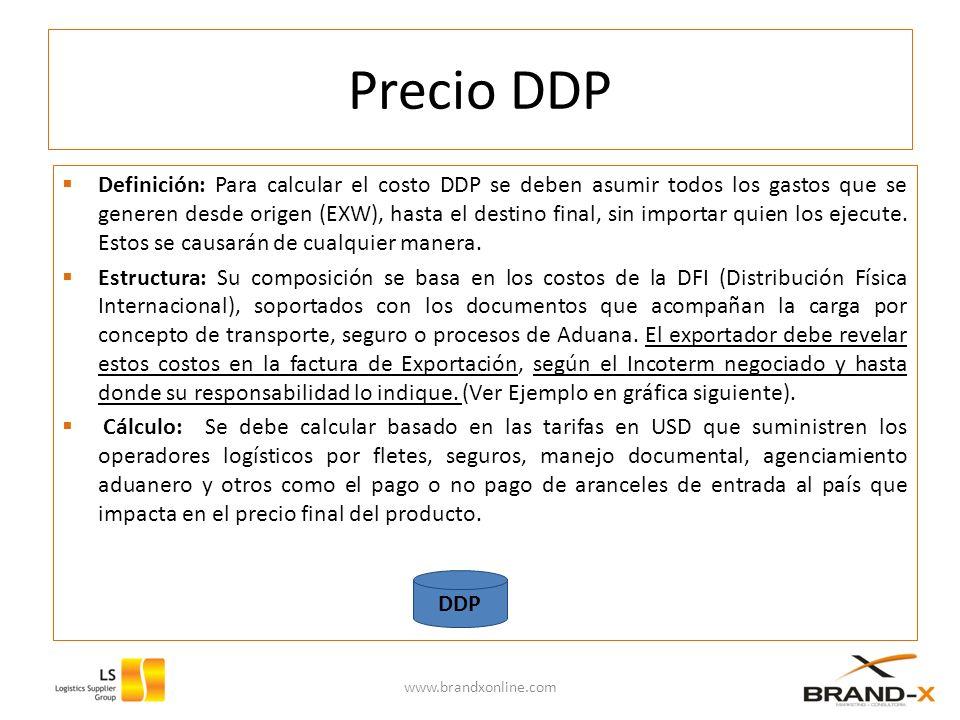 Precio DDP Definición: Para calcular el costo DDP se deben asumir todos los gastos que se generen desde origen (EXW), hasta el destino final, sin importar quien los ejecute.