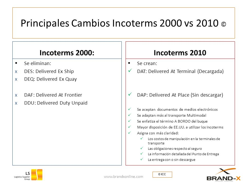 Principales Cambios Incoterms 2000 vs 2010 © Incoterms 2000: Se eliminan: xDES: Delivered Ex Ship xDEQ: Delivered Ex Quay xDAF: Delivered At Frontier