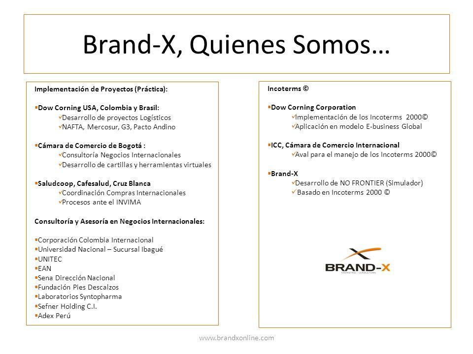 Brand-X, Quienes Somos… www.brandxonline.com Implementación de Proyectos (Práctica): Dow Corning USA, Colombia y Brasil: Desarrollo de proyectos Logís