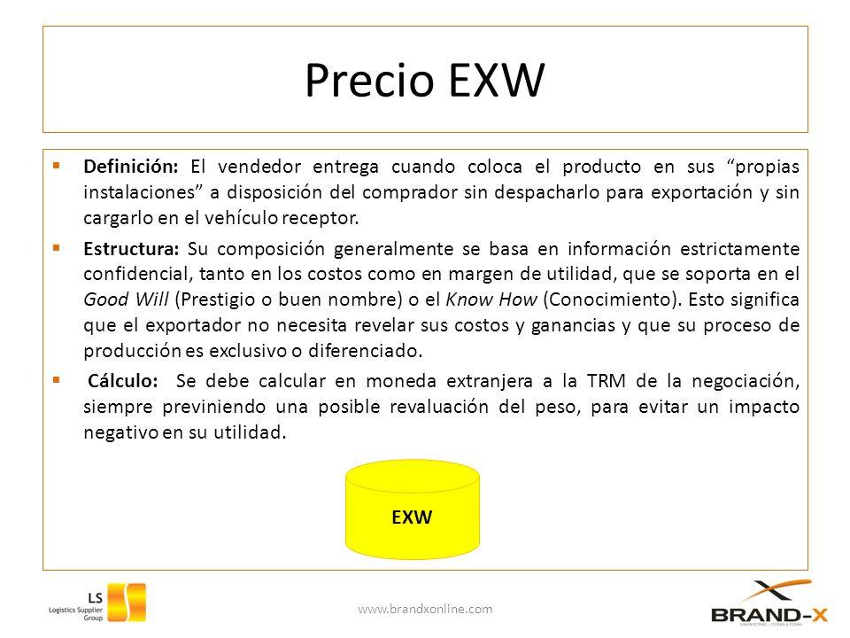 Precio EXW Definición: El vendedor entrega cuando coloca el producto en sus propias instalaciones a disposición del comprador sin despacharlo para exportación y sin cargarlo en el vehículo receptor.