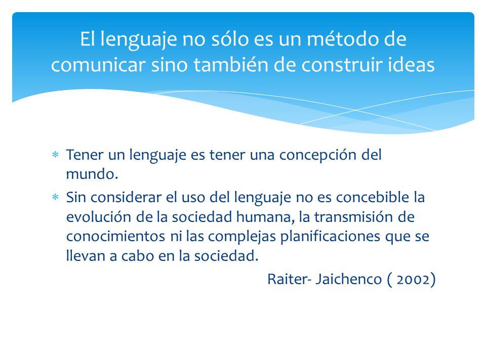 Tener un lenguaje es tener una concepción del mundo. Sin considerar el uso del lenguaje no es concebible la evolución de la sociedad humana, la transm