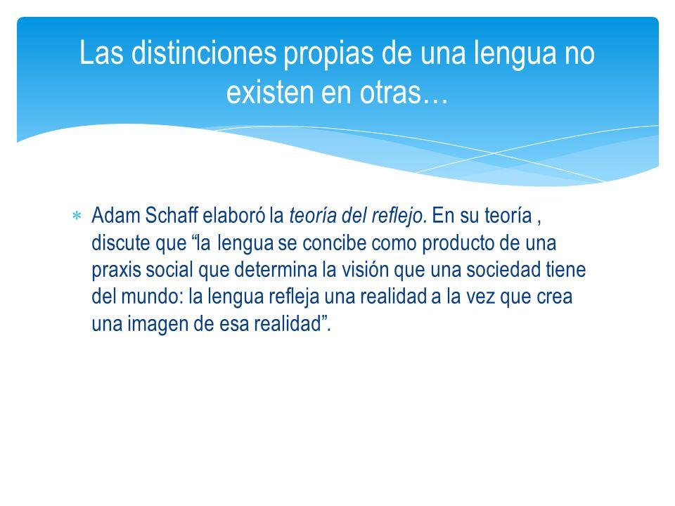 Adam Schaff elaboró la teoría del reflejo. En su teoría, discute que la lengua se concibe como producto de una praxis social que determina la visión q
