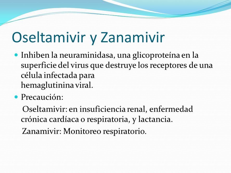 Oseltamivir y Zanamivir Inhiben la neuraminidasa, una glicoproteína en la superficie del virus que destruye los receptores de una célula infectada par