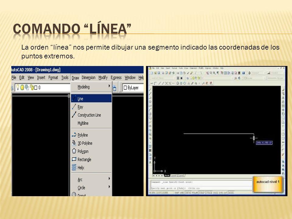 La orden línea nos permite dibujar una segmento indicado las coordenadas de los puntos extremos.