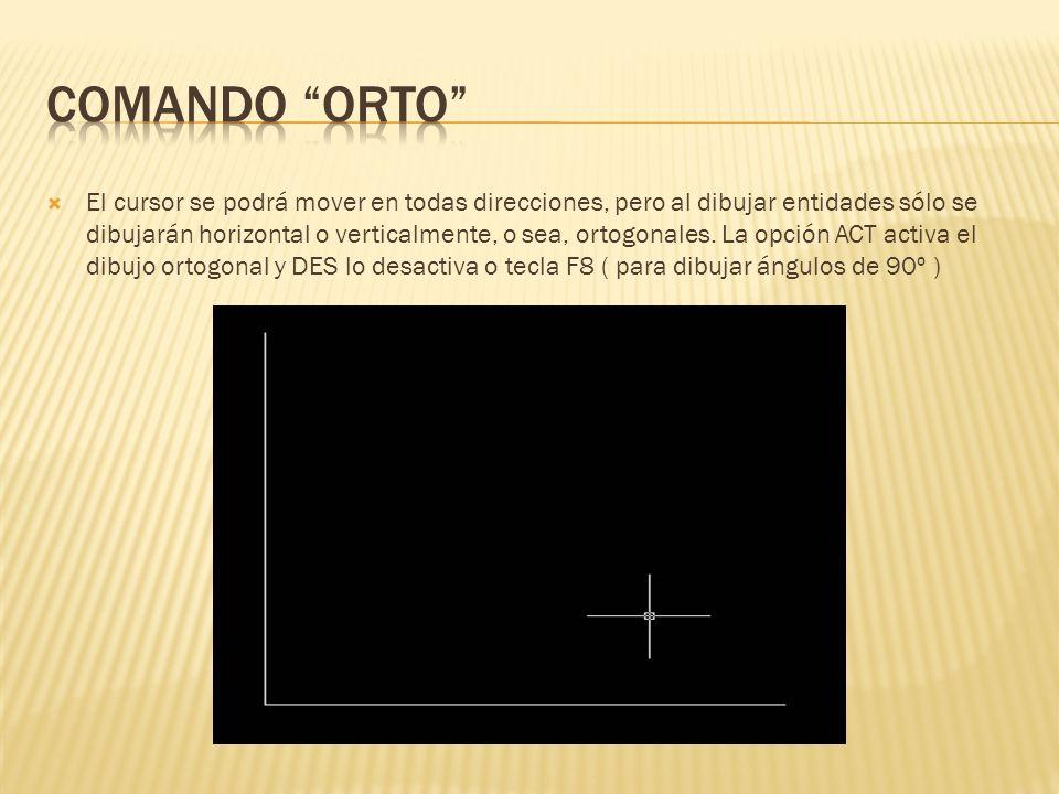 El cursor se podrá mover en todas direcciones, pero al dibujar entidades sólo se dibujarán horizontal o verticalmente, o sea, ortogonales.