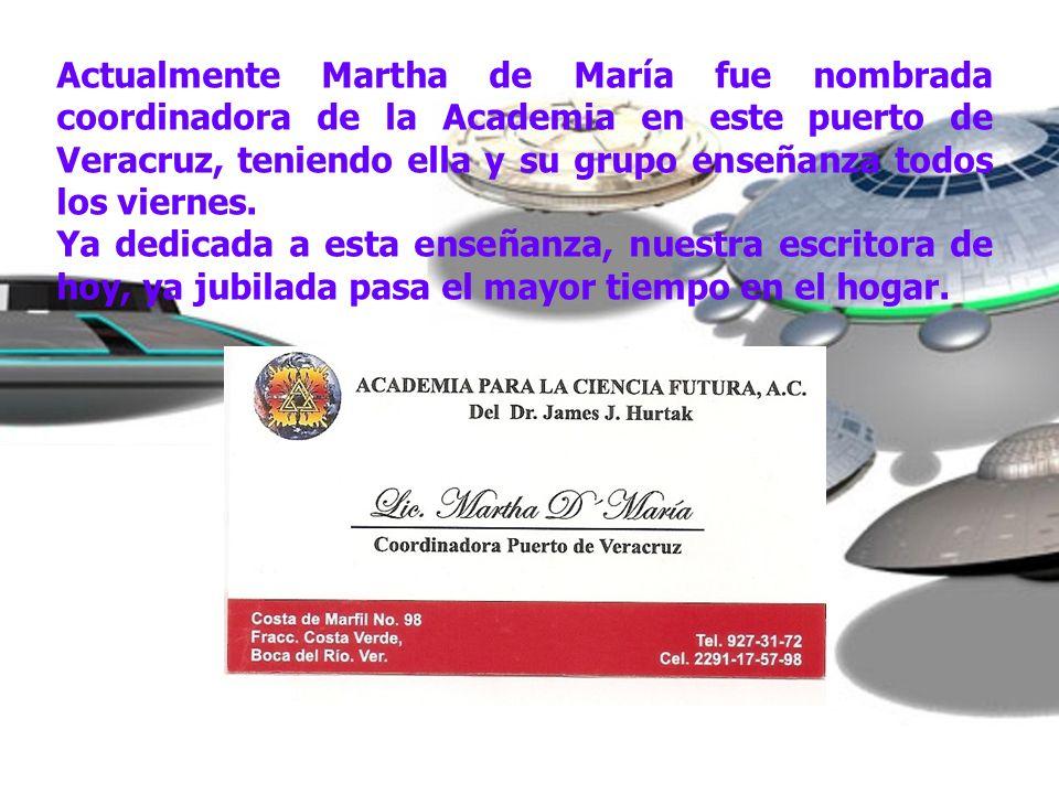 Actualmente Martha de María fue nombrada coordinadora de la Academia en este puerto de Veracruz, teniendo ella y su grupo enseñanza todos los viernes.